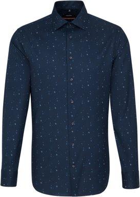 Bügelleichtes Twill Business Hemd in Slim mit Kentkragen