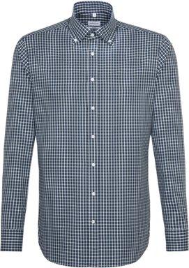 Bügelfreies Popeline Business Hemd in Shaped mit Button-Down-Kragen