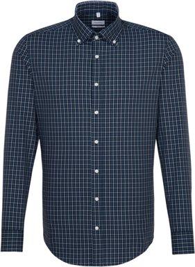 Bügelfreies Popeline Business Hemd in Slim mit Button-Down-Kragen