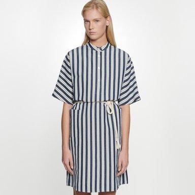 Midi Kleid aus Seiden-Leinenmischung