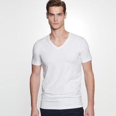 V-Neck T-Shirt aus 95% Baumwolle 5% Elastan