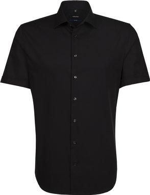 Bügelfreies Popeline Kurzarm Business Hemd in Shaped mit Kentkragen