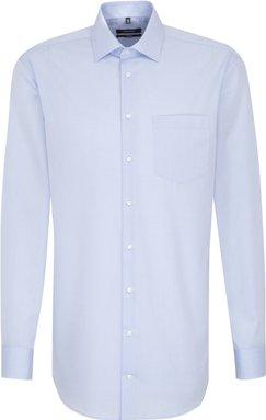 Bügelfreies Chambray Business Hemd in Comfort mit Kentkragen und extra langem Arm