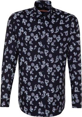 Bügelleichtes Twill Business Hemd in Slim mit Covered-Button-Down-Kragen