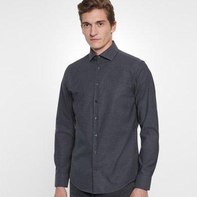 Bügelfreies Fil a fil Business Hemd in Slim mit Kentkragen