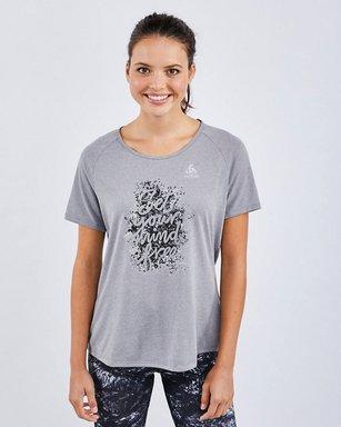 Odlo Millennium Element Print T-shirt - Damen Kurz grey Laufbekleidung