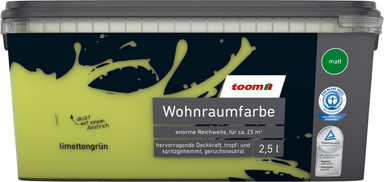 toom Wohnraumfarbe 'Limettengrün' 2,5 l matt