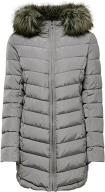 ONLY Langer Steppjacke Damen Silber