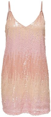 ONLY Pailletten Kleid Damen Beige