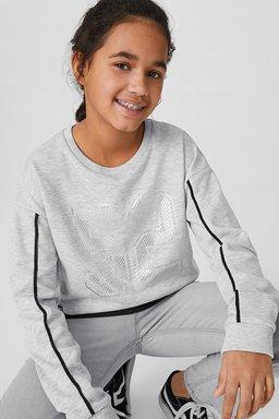 C&A Set-Sweatshirt und Top-Glanz-Effekt, Grau