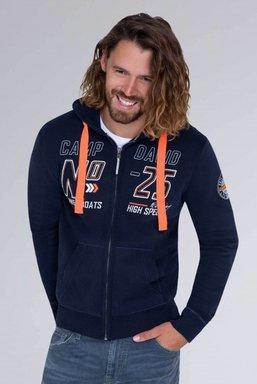 Hoodie Jacket mit Label-Applikationen Farbe : blue navy
