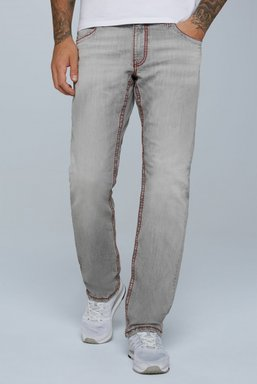 Jeans CO:NO mit Kontrastnähten und Used-Optik Farbe : light grey , Weite : 31 , Länge: 34