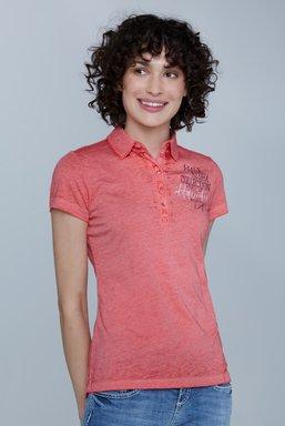 Polo mit Ausbrenner-Effekten und Prints Farbe : red summer