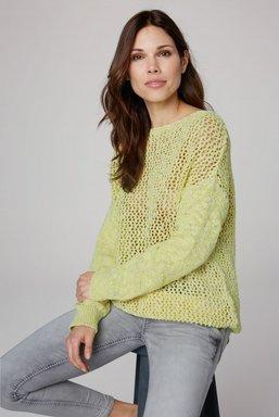Pullover aus Effektgarn mit Lochmuster Farbe : yellow glow