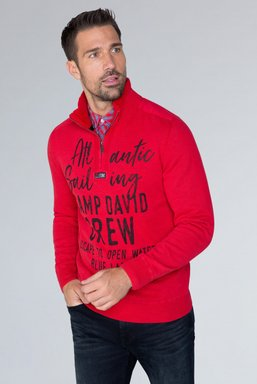 Strick-Troyer im Used Look mit Label Prints Farbe : royal red
