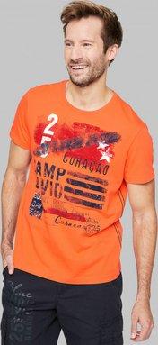T-Shirt mit Rundhalsausschnitt und Frontprint Farbe : mission orange