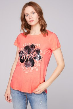 T-Shirt Oil Dyed mit Pailletten-Artwork Farbe : neon orange