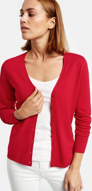 Basic-Strickjacke Rot M
