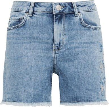 Bestickte Jeansshorts aus Candiani Denim