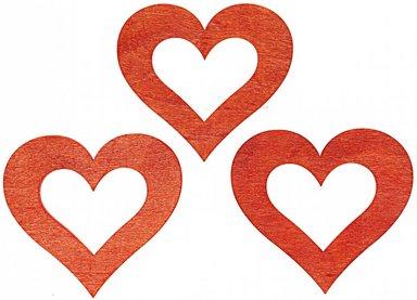 Streu Herzen rot 6cm Holz 6 Stück