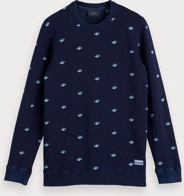 Scotch & Soda Sweatshirt mit indigoblauem Print