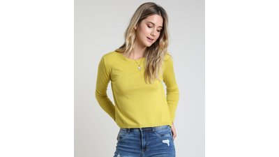 suéter feminino básico tricô decote redondo verde claro