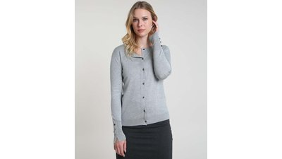 cardigan feminino básico tricô cinza mescla