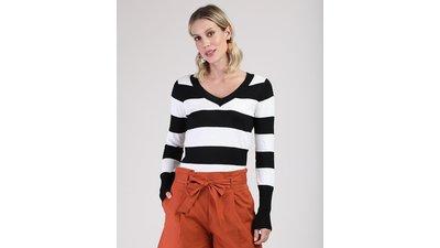 suéter feminino listrado tricô decote v preto