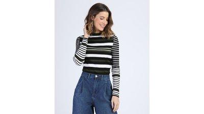 suéter tricô feminino canelado listrado decote redondo preto