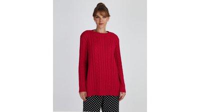 suéter feminino tricô oversized vermelho