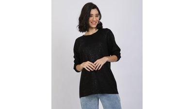 suéter feminino tricô com foil decote redondo preto