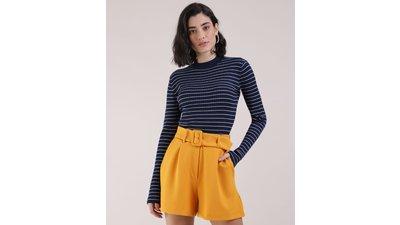 suéter tricô feminino básico listrado decote redondo azul marinho