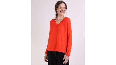 suéter feminino tricô manga longa decote v vermelho