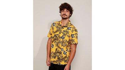 camisa masculina estampada floral manga curta amarela