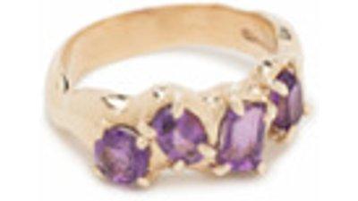 susannah king anel ouro 9k ametista  dourado