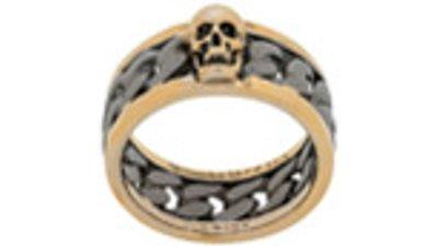 anel caveira cravada  prateado