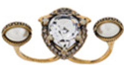 anel aplicação cristais  dourado