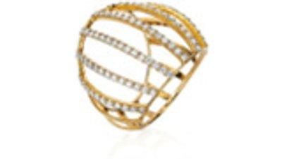 corsage anel ouro amarelo diamantes  dourado