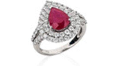 corsage anel ouro branco diamantes rubi  prateado