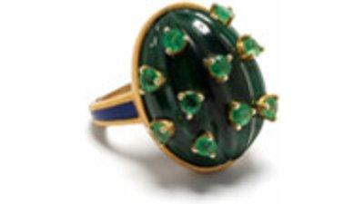 akansha sethi anel cactus  dourado