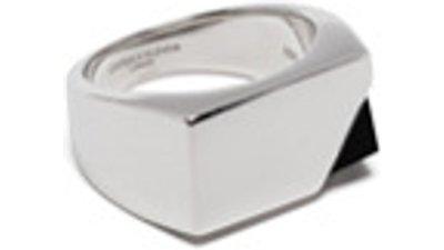 capsule eleven anel aplicação ônix  prateado