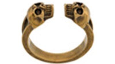 anel caveira  dourado