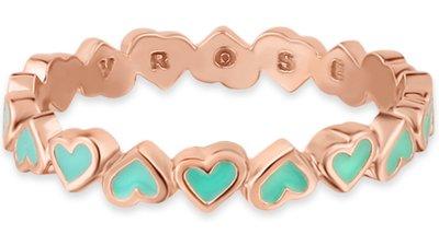 anel life corações esmaltado verde banho ouro rosé