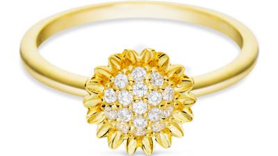 anel life flor girassol banho ouro amarelo