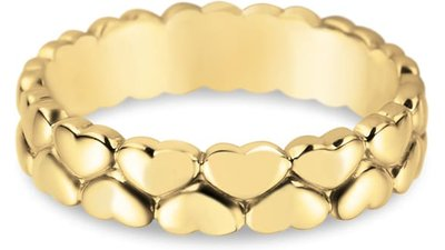 anel life corações banho ouro amarelo