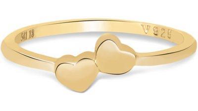anel life dois corações banho ouro amarelo