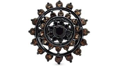 anel prata espinélios quartzos fumê