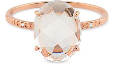 anel ouro rosé cristal diamante