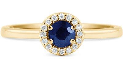 anel ouro amarelo diamantes safira