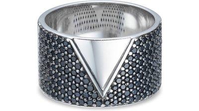 anel prata safiras negras